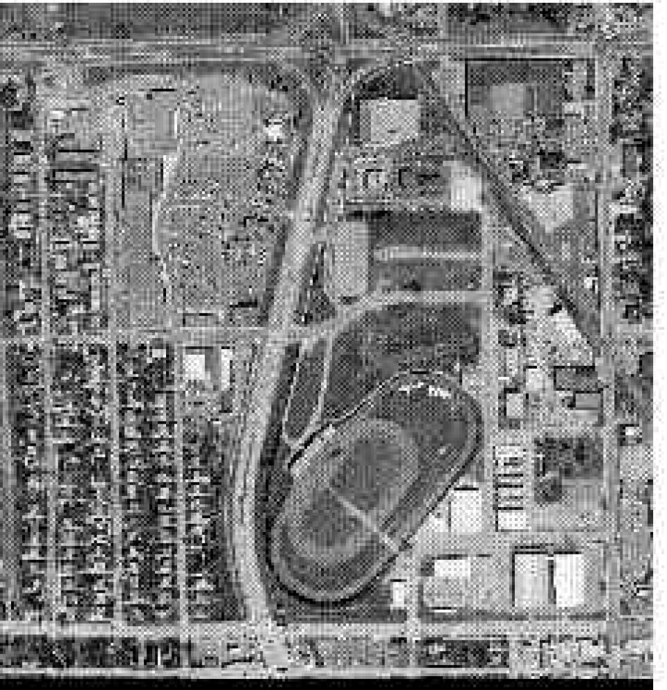 black and white fairground aerial photo example
