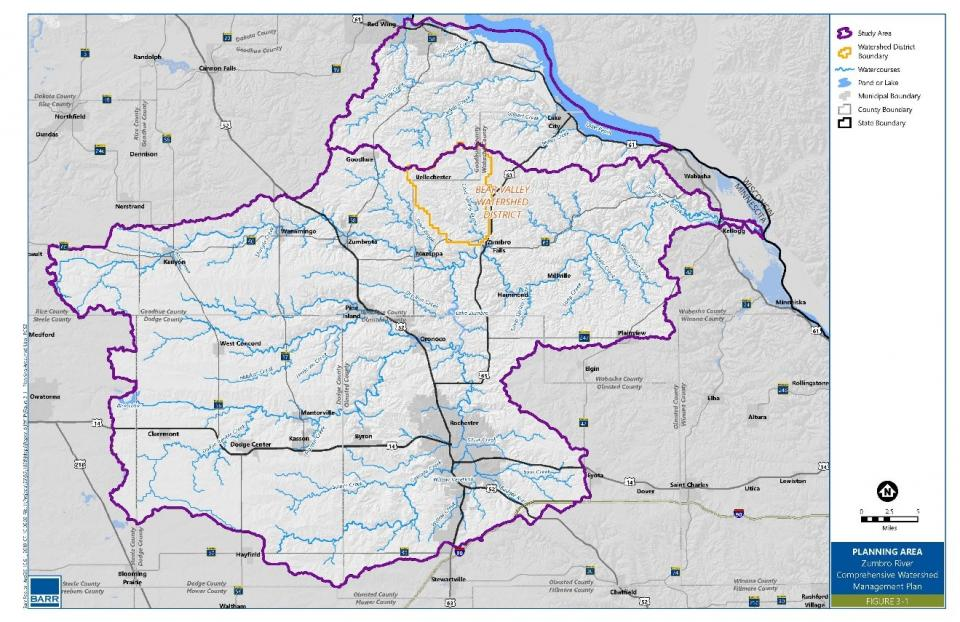 Zumbro One Watershed One Plan Boundary Map