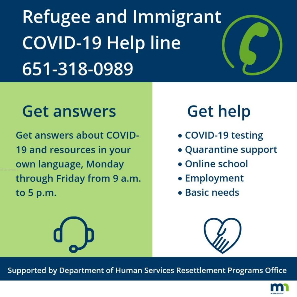Refugee and immigrant COVID-19 help line, call 651-318-0989
